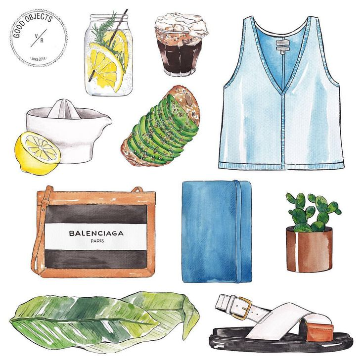 Good objects -I've not been posting a lot, but I'm feeling the summer vibessss ✨ #goodthingsarecoming #goodobjects #watercolor #illustration (en Telma - Good Objects - Madame Hibou)