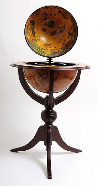 Globe Bar 3 Legged Pedestal Stand Red