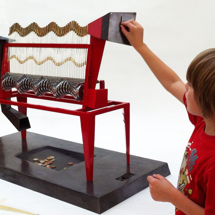 The Cache Machine by Martin Smith is a kinetic sculpture that adds rhythm and irony to the tradition of hiding coins in a safe place.
