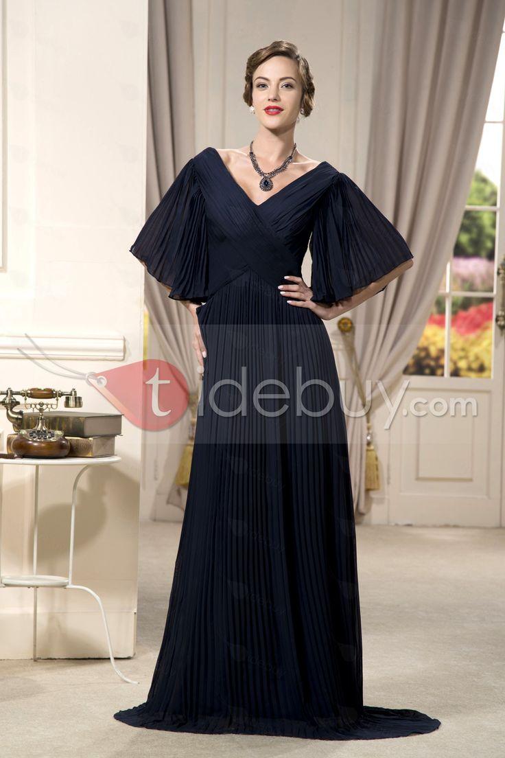 半袖Vネック床まで届く長さ花嫁さんの母のドレス