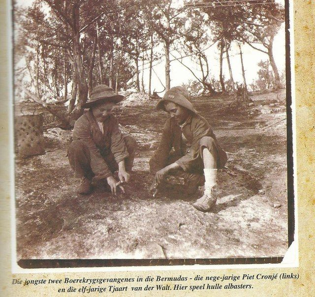Geni - Photos in Photos from Anglo Boere Oorlog/Boer War (1899-1902) POW Bermuda The two youngest POWs in Bermuda- Nine year old Piet Cronje (left) and eleven year old Tjaart van der Walt. Here they are playing Marbles.