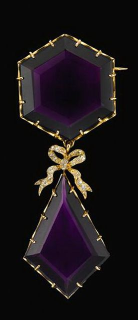 Yellow gold, amethyst and diamond brooch   victorian   Hexagonal and kite shaped amethyst stones are seperated by a delicate diamond bow, set with petite Old Mine cut diamonds.
