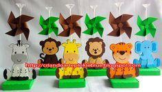 Centro de mesa tema Safari baby.  Agora são 7 bichinhos a escolher pra decorar a mesa  dos convidados: Leão, tigre, macaco, elefante,  hipo...