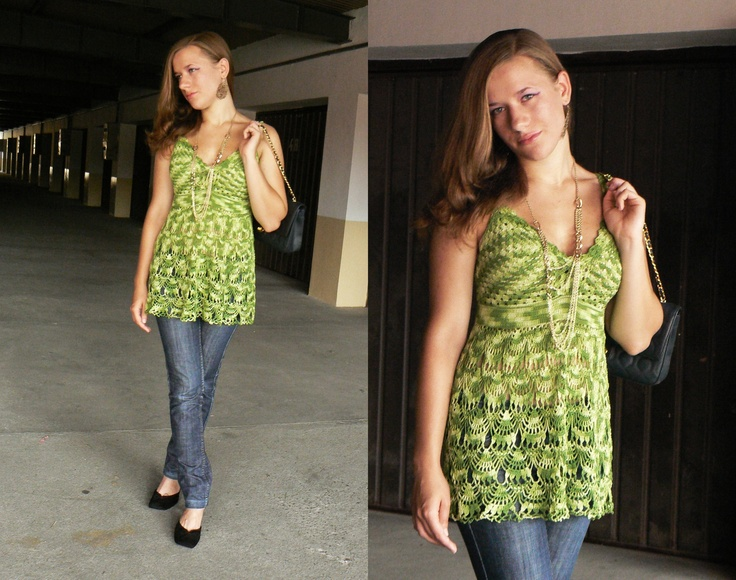 Shaded green crochet top