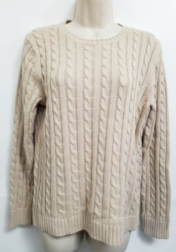 LL Bean Sweater Womens M Beige 100% Cotton Cable Knit Long Sleeve