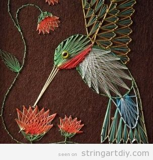 A bird placed on a flower, a beautiful String Art | String Art DIY | Free patterns and templates to make your own String Art