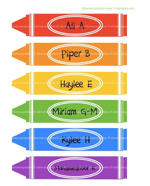 Edible School Crayon Labels Crayon Name Tags School