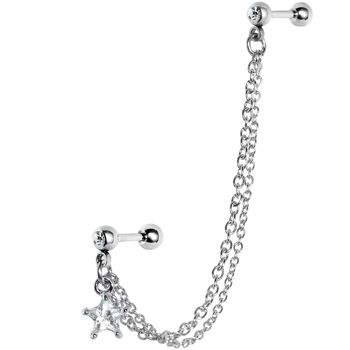 16 Gauge Double Chain Link CZ Star Cartilage Tragus Barbell Earring | Body Candy Body Jewelry #BodyCandy