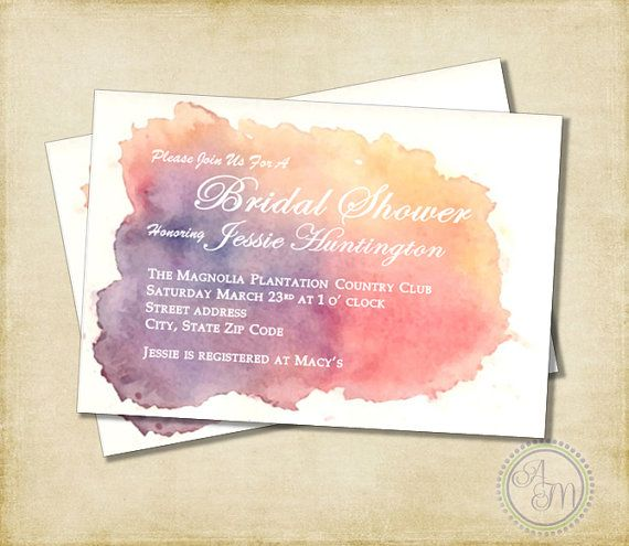 Bridal Shower Invitation- Peach, Yellow & Purple Watercolor, Spring Bridal Shower, Watercolor Shower, Wedding Shower (Printable Download)