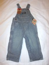 Boys OshKosh Latzhose striped overall conductor bib Jeans 6 9 12 18 24 3 4 5 NWT $27.99