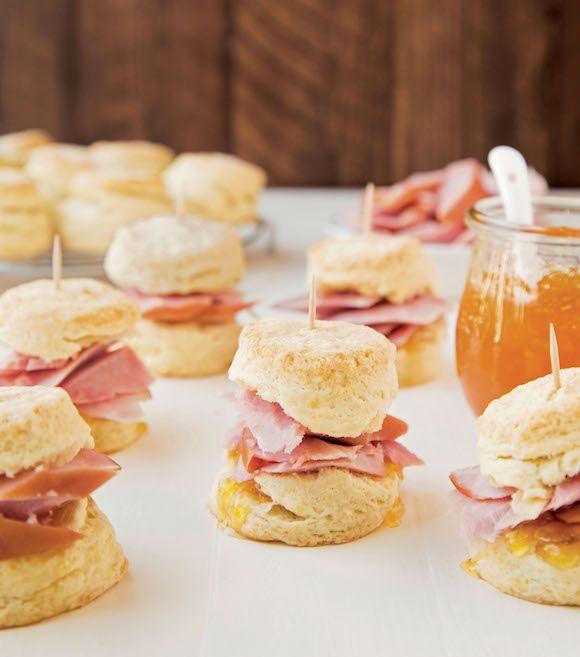 Mini ham and bourbon peach jam biscuits Easter Spring recipe