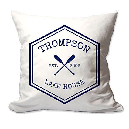 Personalized Crossed Oars Family Lake House Throw Pillow