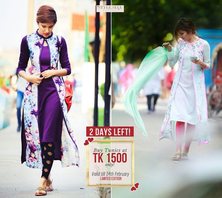 #Stylesell #ValentinesCollection - Only 2 days LEFT! Buy Designer Tunics at Tk 1500 ONLY! Over 100+ designs available! Also, get 70% OFF on ALL the shoes in the store! <3  Offer valid from 27th January to 14th February. Limited Edition. Make yourself and your loved one feel special and beautiful with a #StyleSellOutfit  #Designer #Regularwear #SalwarSuit #Fashionable #Accessories #Clothing #Comfort #BestPrice  Our Shop address: Showroom 1: South Avenue, Gulshan 1 (Just beside Gulshan 1 DCC…