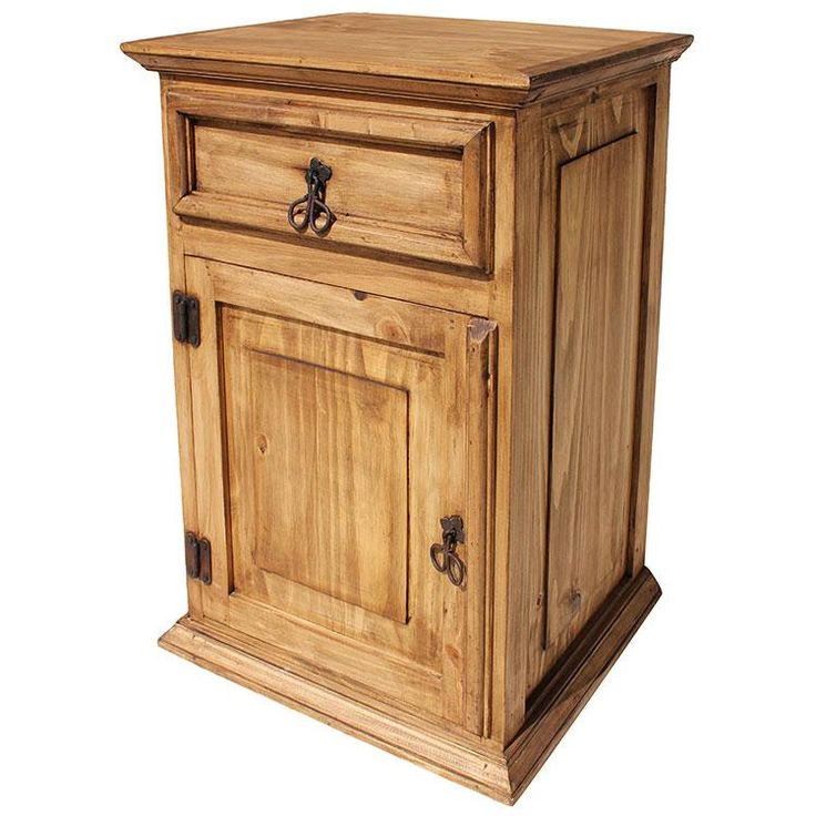 rustic pine tall nightstands with single drawer and single door - Narrow Nightstand