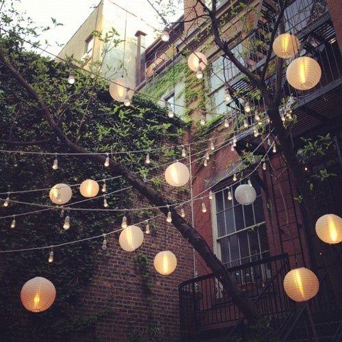 Outdoor string lights, mixing bigger lanterns and mini bulbs