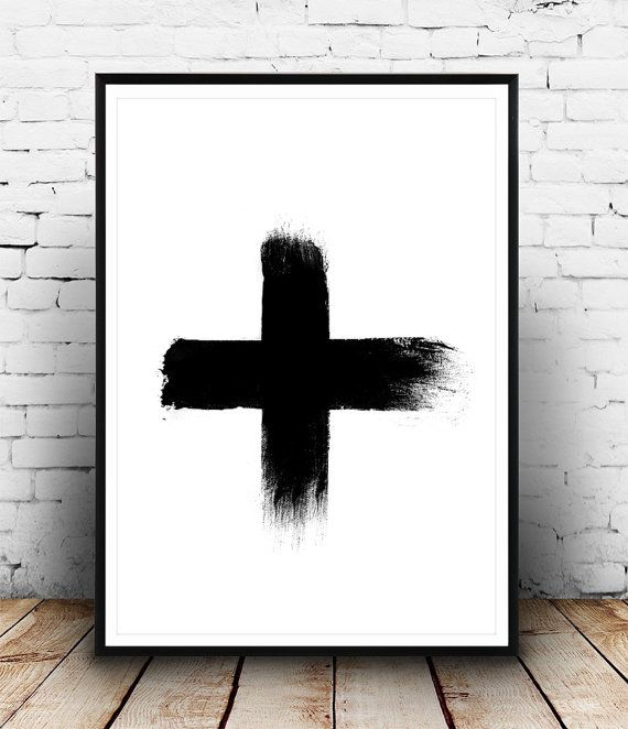 Swiss Cross Poster Brush Stroke Plus Sign Black and by Wallzilla