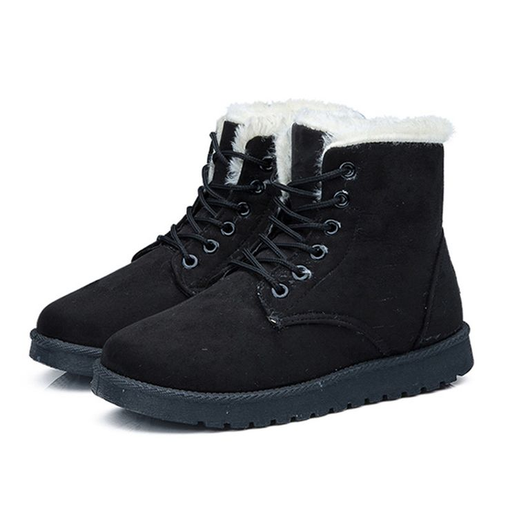 EISWELT New Hot Women Boots Snow Warm Winter Boots Lace Up Fur Ankle Boots Ladies Winter Shoes Women Shoes#EHL10