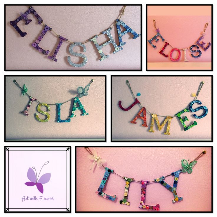 Handmade name hangings, made using plywood letters. Handpainted, decorated with contrasting buttons, beads & mesh balloons, butterflies & dragonflies. Prices start at £12.50 for four letters. Made by Art with Flowers
