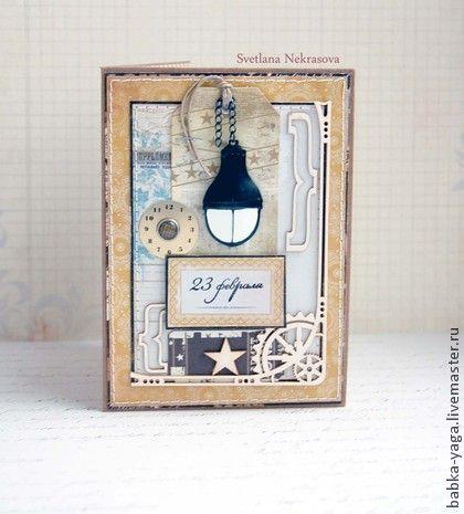 23 февраля!, открытка - коричневый,Открытка ручной работы,открытка для мужчины