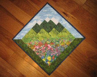 Blue Skies Mountain Diagonal Art Quilt Wall Hanging by TahoeQuilts