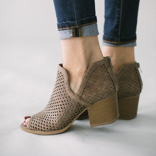 Perforated peep-toe ankle booties...go with everything! Free shipping on orders of $50 or more.