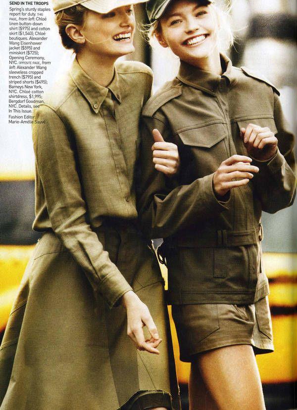 "Lily Donaldson, Sasha Pivovarova, Isabeli Fontana and Liya Kebede by Mario Testino for the editorial ""Military Issue"", 2010"