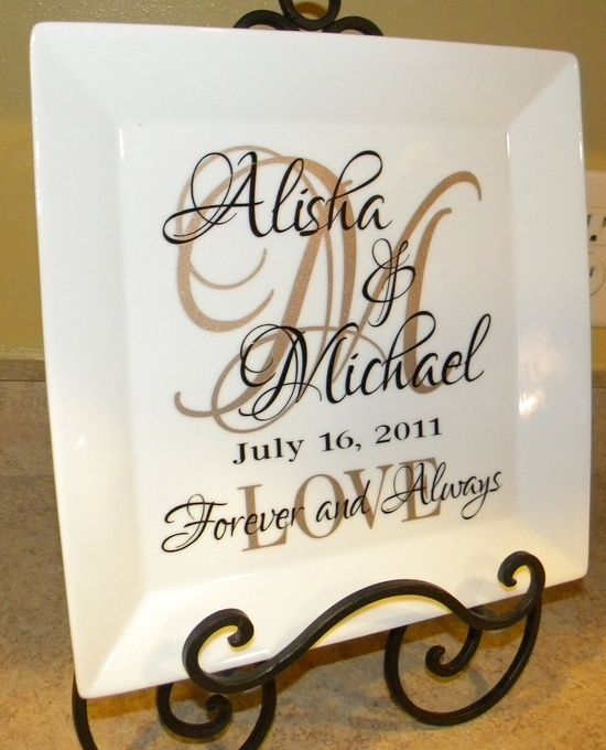 Handmade Wedding Gift Ideas: Couple's Names And Initial On