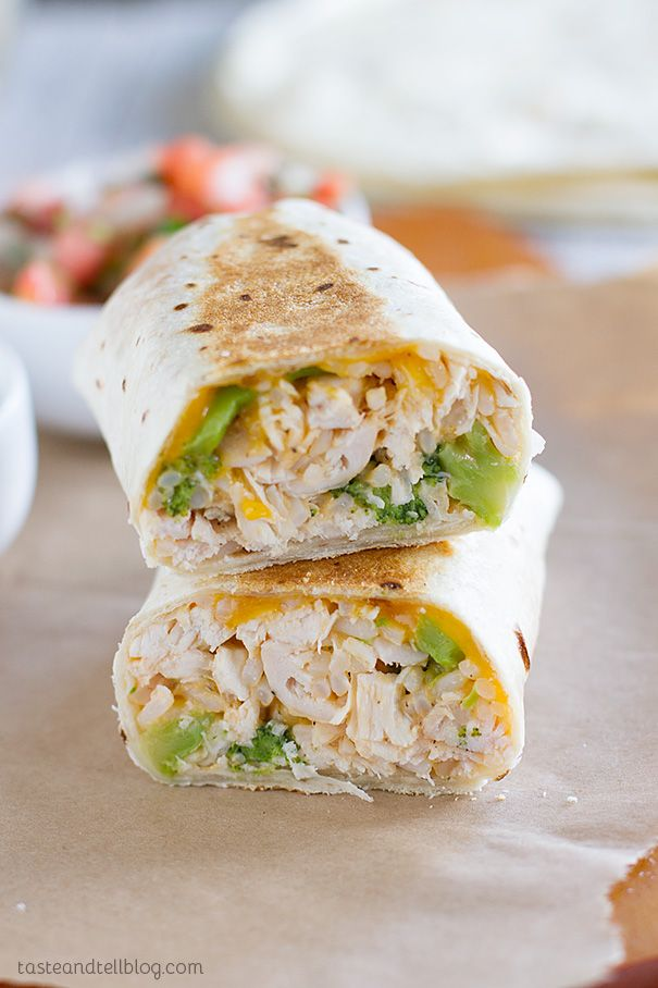 """In a rush? These grilled burritos filled with chicken and broccoli are done in a flash and are family friendly!"""