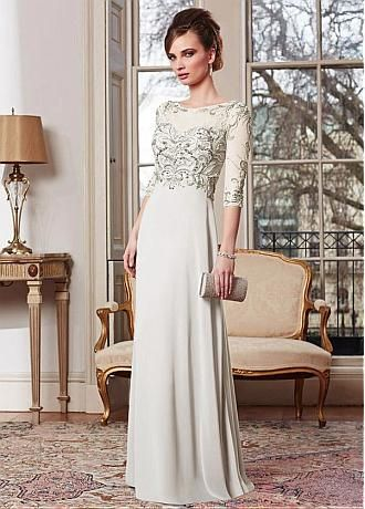 Buy discount Glamorous Chiffon Sheath Bateau Neckline Full-length Mother of the Bride Dress at Dressilyme.com