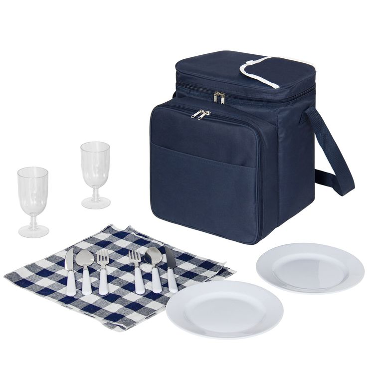 2 Person picnic bags fleece blank Insulated Basket set Lunch Tote Cooler Picnic bags