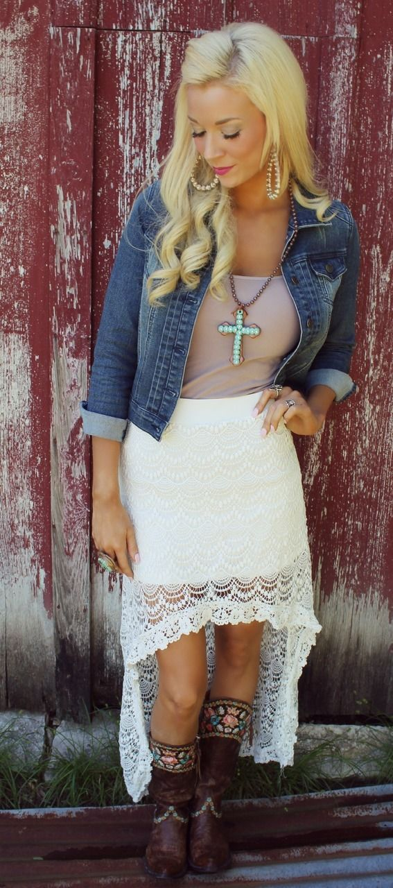 Ivory Crochet Hi-Lo Skirt - The Lace Cactus