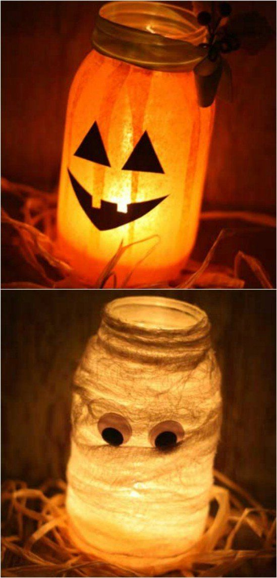 Mason jars painted orange or using white cheese cloth with a tea light inside for a well-lit path up the stairs.