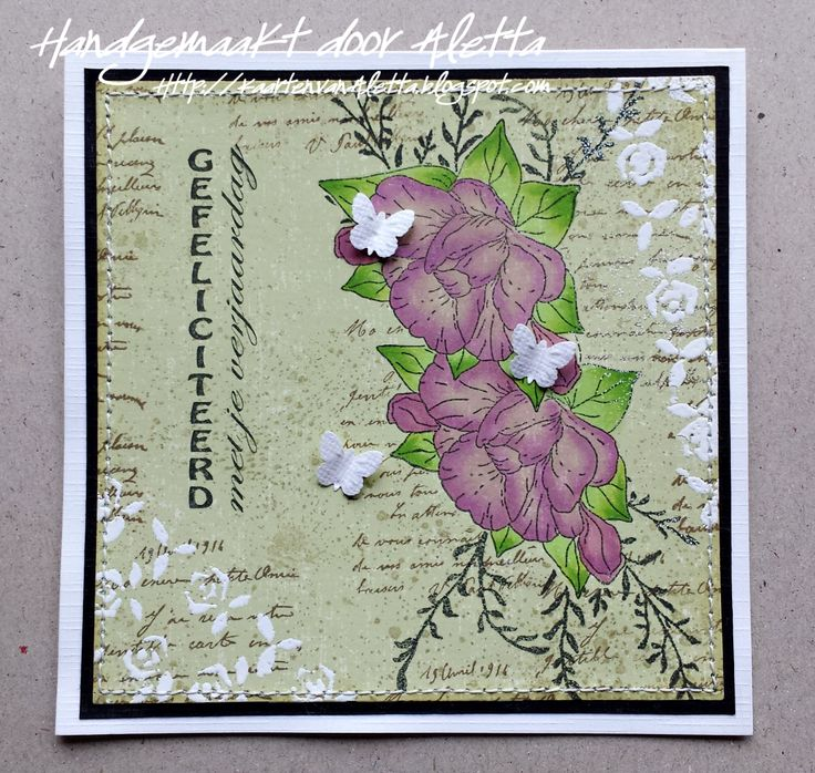 Card made by Aletta Heij. Embossingstencil Crafts too Roses, clearstamp Leane flower-1 and Twig, Floral Punch FLP018. All products available at https://snellencrafts.nl