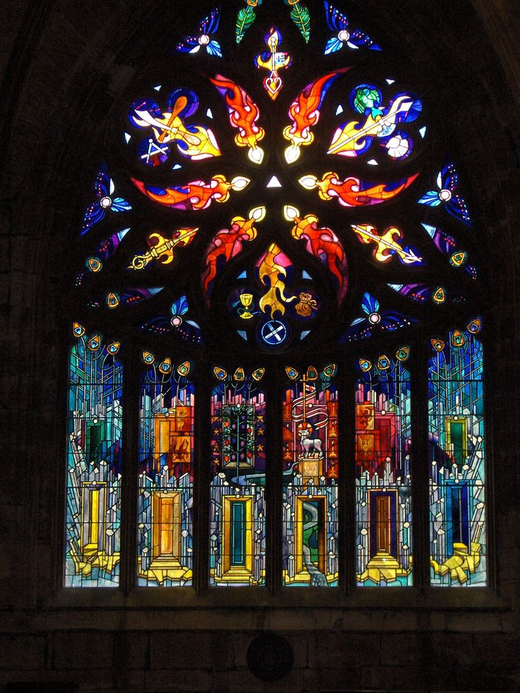 beautiful stained glass window in St Michael's Church Catholic Church, Linlithgow, Scotland!- designed for 750th anniversary