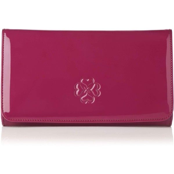 L.K. Bennett Frome Patent Leather Clutch Bag ($140) ❤ liked on Polyvore featuring bags, handbags, clutches, patent purse, polka dot handbags, purple handbags, purple purse and purple patent leather handbag