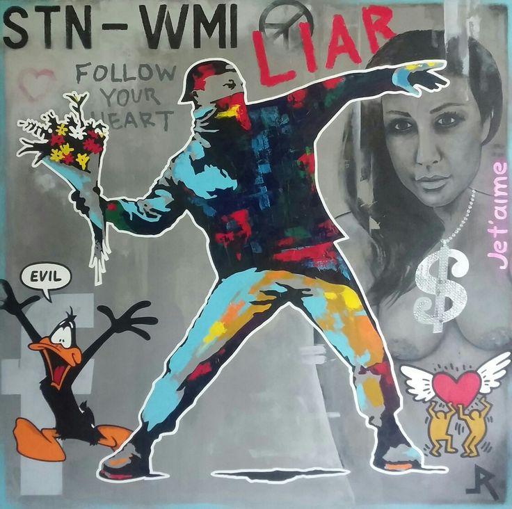"""Hot N Cold""  Work in progress😀 Acrylic painting on canvas 90x90cm #Art #painting #streetart #popart #interior #wall #feelings #love #hate #heart #money #time #flowers #artgallery #stencil #swarowski #banksy #adamraid"
