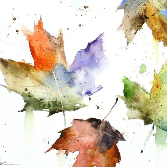 OTOÑO hojas imprimir acuarela por Dean Crouser por DeanCrouserArt