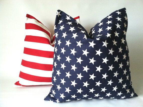 Get ready for the 4th of July with this fun set of Stars & Stripes pillow covers!! Stars & Stripes Pillow Covers  18 x 18 Set of Two by PillowStyles, $38.00