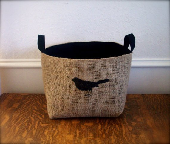 Coffee Sack Bird Basket , like this, cute idea