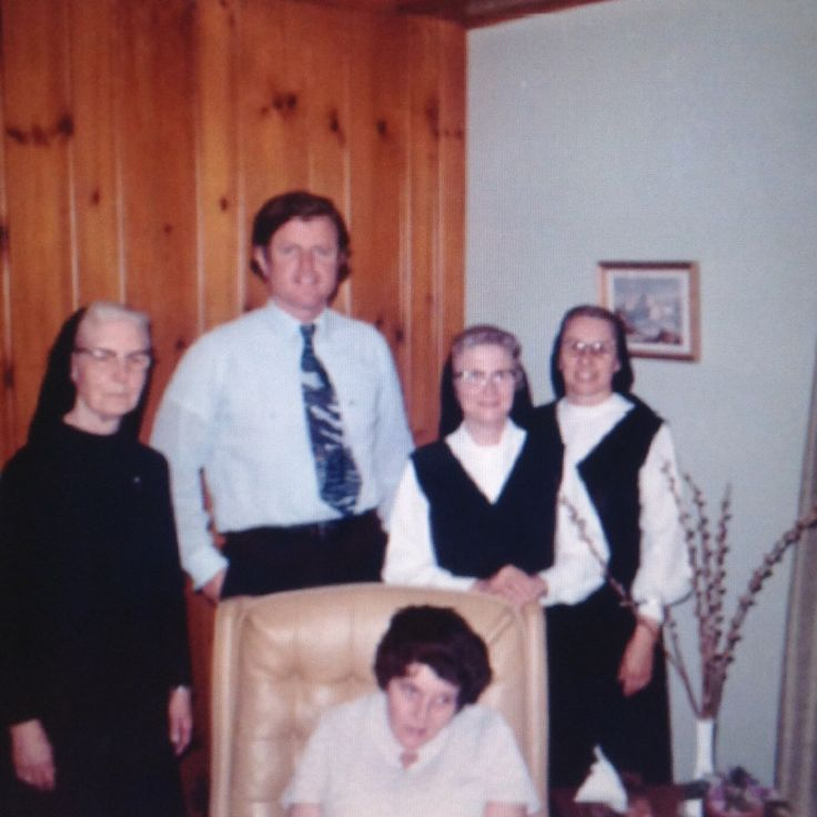 Ted Kennedy and Rosemary Kennedy with the nuns who cared for her, Sister Juhlaine, Sister Charles and Sister Paulus