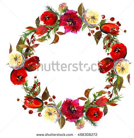 Winter Christmas Floral wreath red burgundy white green warm colors flowers fur tree branches red berries warm colors isolated on white background.