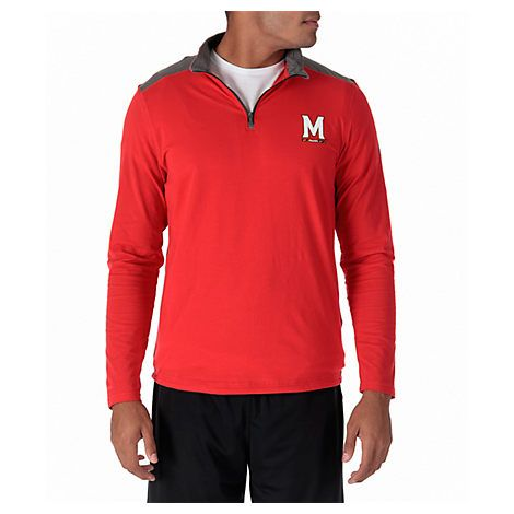 UNDER ARMOUR MEN'S MARYLAND TERRAPINS COLLEGE CHARGED COTTON QUARTER-ZIP JACKET, RED. #underarmour #cloth #