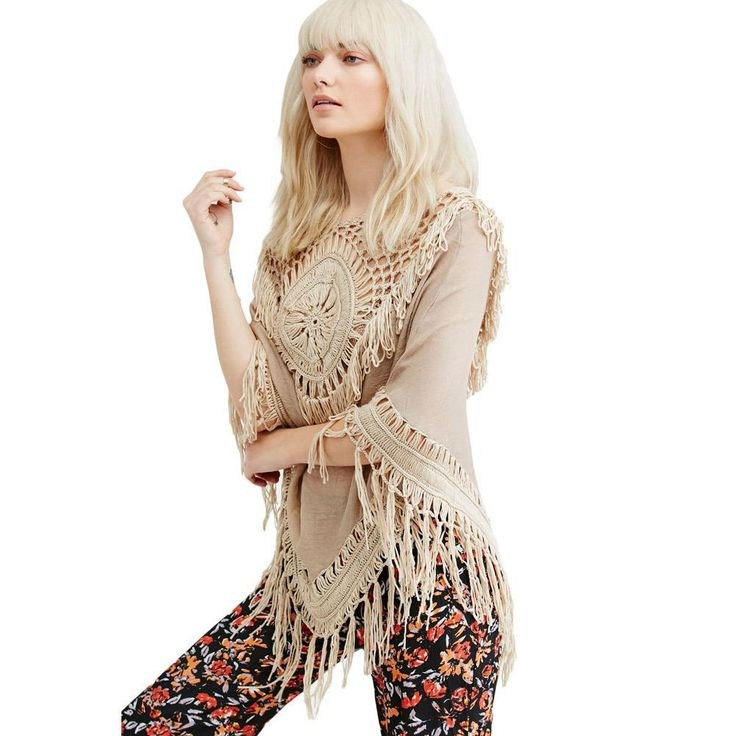 2016 New Beach Cover Up Women Sundial Fringe Poncho Swimsuit Boho Style Summer Dress Sexy Mesh Hollow Out Cover Ups With Tassel