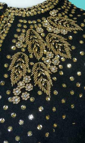 Detail 1950's vintage hand beaded sweater