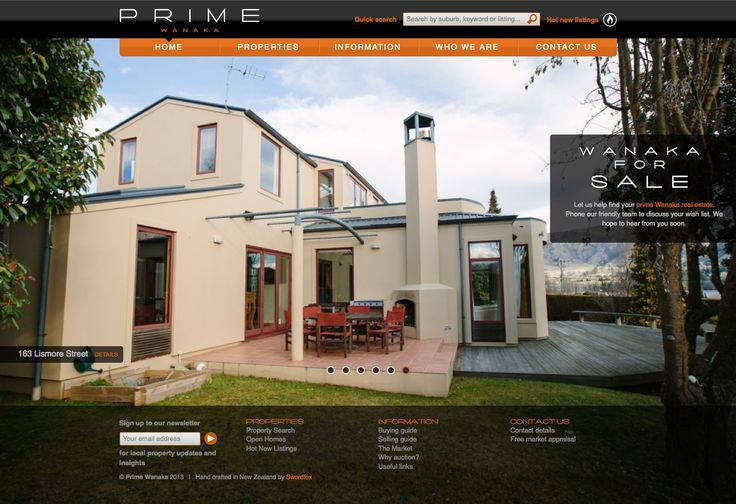Luxury real estate business in Wanaka, Central Otago, New Zealand. Designed & developed by Swordfox.