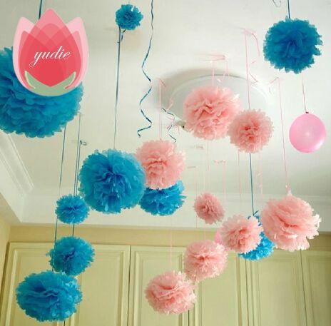 Diameter 20cm 5pcs/lot Paper artificial PomPom Tissue Balls Flower for Home Wedding Party Car Decoration Pompon crafts Supplies