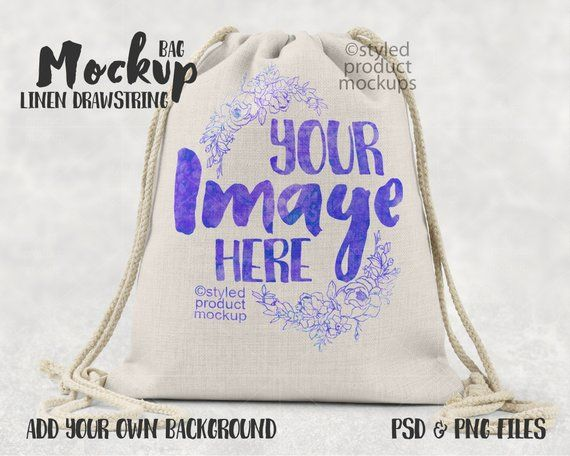 Download Dye Sublimation Linen Drawstring Bag Mockup Template Add Etsy Linen Drawstring Bag Mockup Drawstring Bag