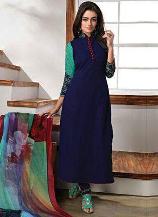 Navy Blue Embroidery Work Georgette Chiffon Fancy Designer Print Churidar Suit http://www.angelnx.com/Salwar-Kameez/Churidar-Suits