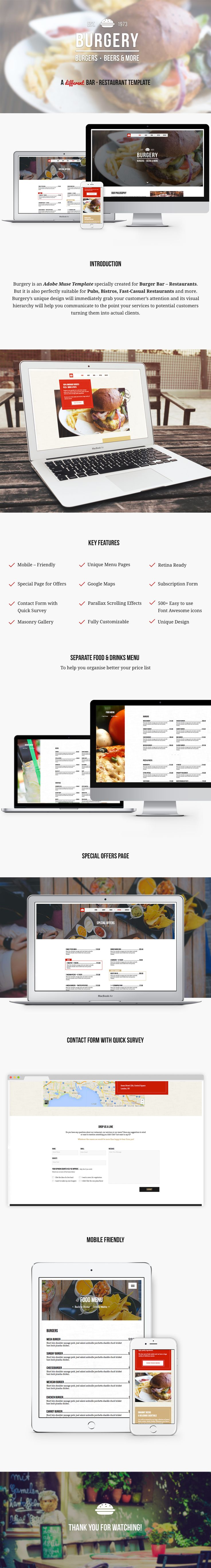 #adobemuse #template #themeforest Burgery is an Adobe Muse Template specially created for Burger Bar – Restaurants. But it is also perfectly suitable for Pubs, Bistros, Fast-Casual Restaurants and more. Burgery's unique design will immediately grab your customer's attention and its visual hierarchy will help you communicate to the point your services to potential customers turning them into actual clients.