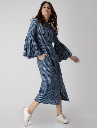 Indigo Cotton Shirt Dress